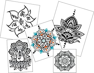 Mandala Lotus Ganesha Temporary Tattoo Set - Realistic & Motivational Yoga Accessory and Gift - Set includes 5 designs, 10 Tattoos - Made in the USA - FDA Approved