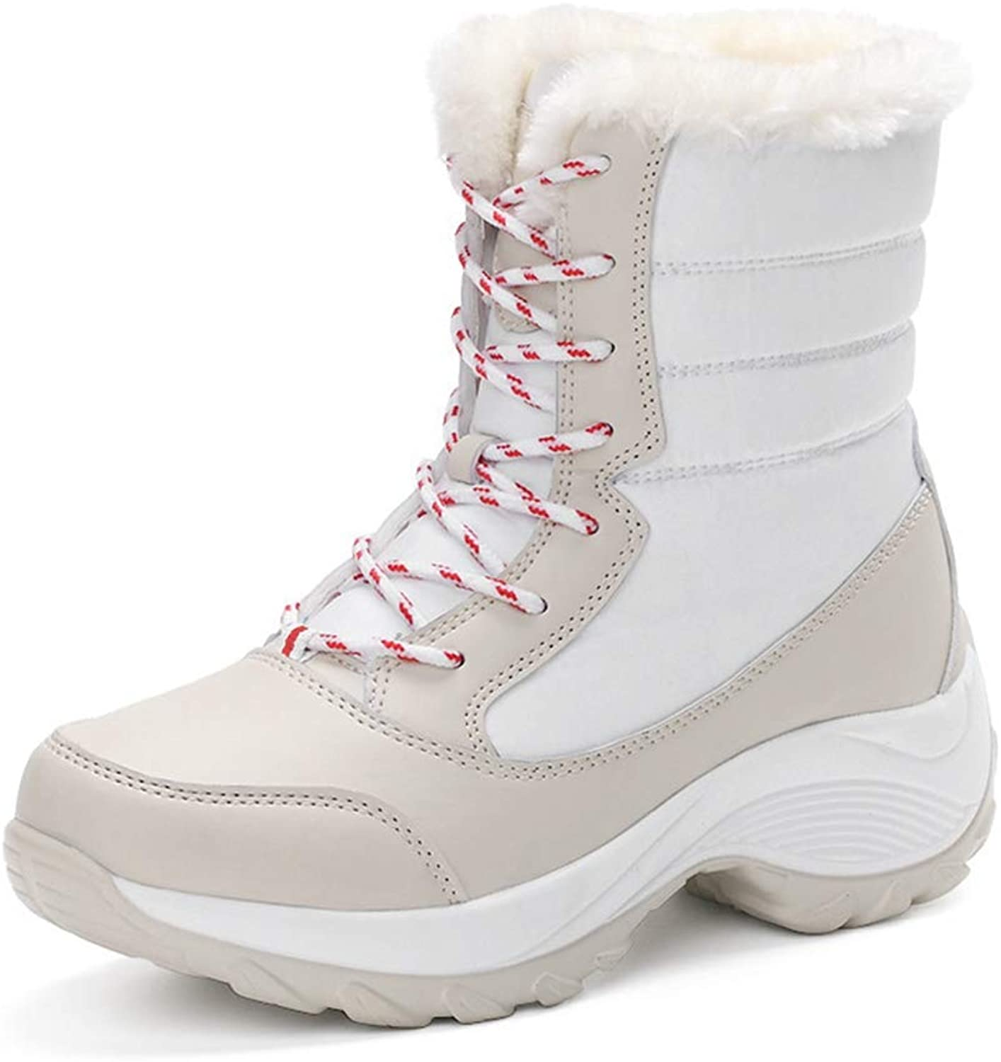 Hoxekle Short Plush Warm Platform Snow Boots Women Lace Up with Fur Winter shoes Casual Comfortable Waterproof Ankle Boots