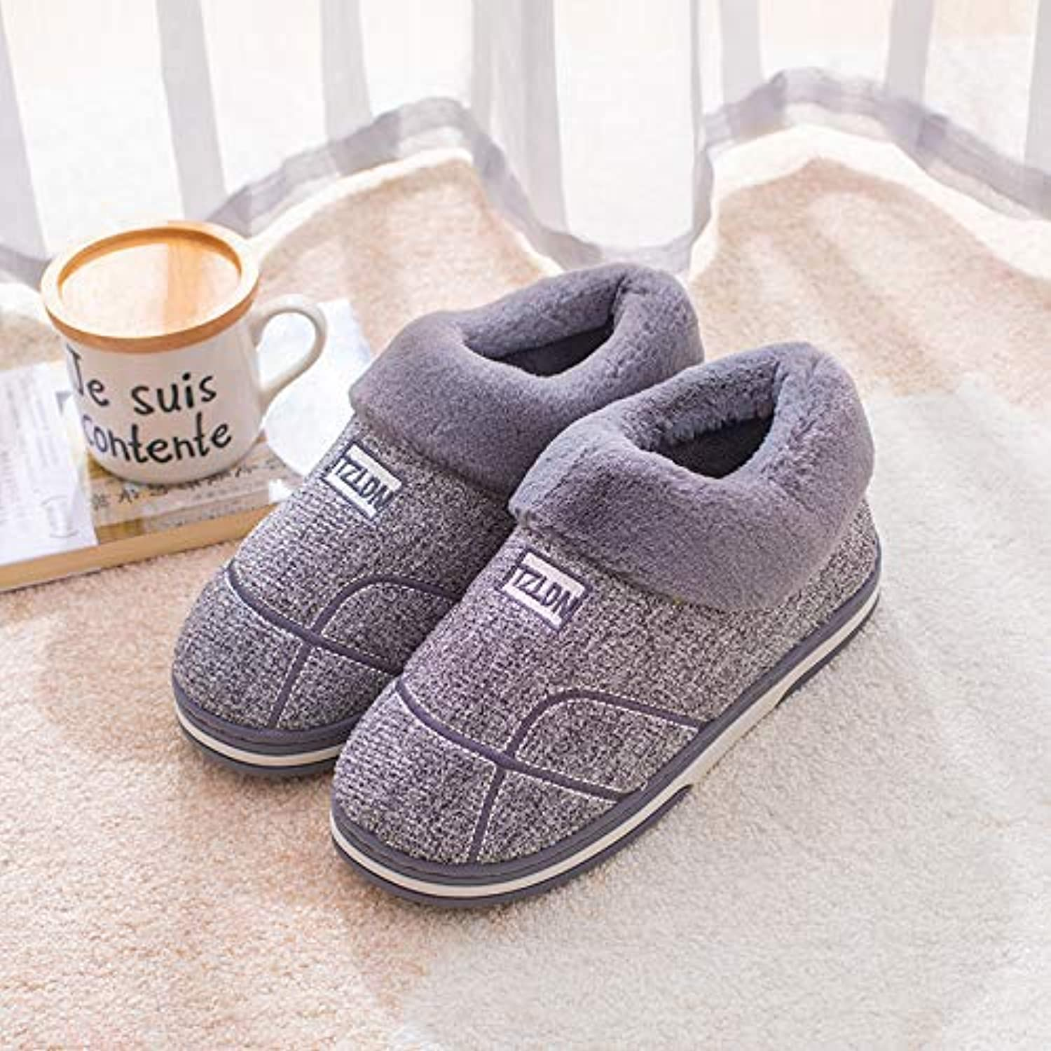 Ladies Anniversary Ring Warm Cotton Slippers Women's Home Non-Slip Thick-Soled Winter Large Size Plus Home Bag with Middle-Aged wear Cotton shoes Male,