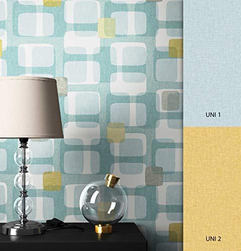 NEWROOM Tapete türkis Rechtecke Retro Papiertapete gelb Papier moderne Design Optik Tapete Geometrisch inkl. Tapezier Ratgeber
