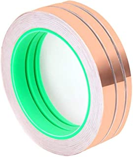 Wolfride Pack of 3 Double-Sided Conductive EMI Shielding Copper Foil Tape for Stained Glass, Soldering, Electrical Repairs, Slug Repellent, Paper Circuits, Grounding (27.5 Yard/Each)