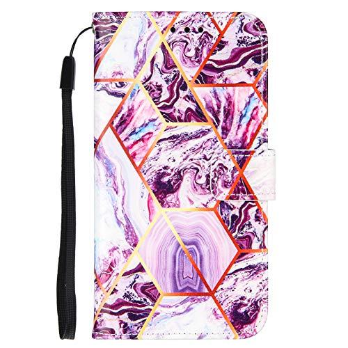 Nadoli Marmor Brieftasche Hülle für Xiaomi Poco X3 NFC,Geometrische Marmor Design Lederhülle mit Standfunktion Kartenfach Magnetverschluss Silikon Bumper Schutzhülle