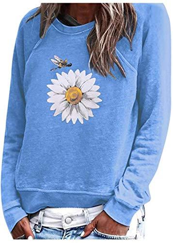 Sudadera de manga larga para mujer, cuello redondo, informal, holgada, con estampado de flores, color azul, talla 3XL