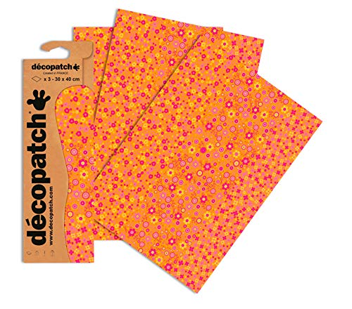Decopatch Papier No. 594 (orange Blümchen, 395 x 298 mm) 3er Pack