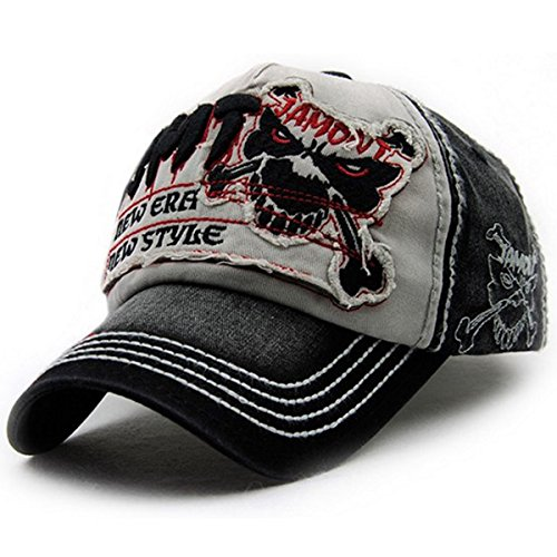 Baseballcap Fight Skull Distressed Snapback Vintage Used Look Golf Sport Outdoor Kappe Mütze Cap Schirmmütze Basecap verstellbar, schwarz, verstellbar von ca 55-60cm