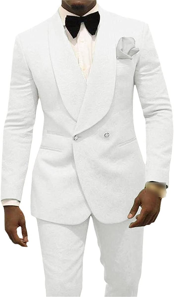 CACLSL Groom Tuxedo Shawl Lapel Men's Suit 2-Piece Wedding Groomsmen Jacket + Pants + tie