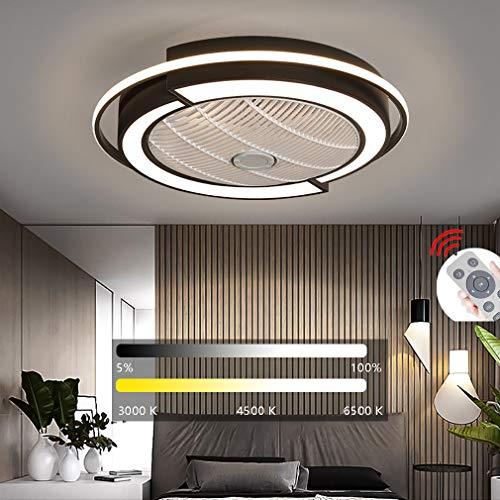 YAOXI LED Fan Deckenleuchte, Deckenventilator Mit Beleuchtung Fernbedienung Leise Dimmbar Einstellbare Windgeschwindigkeit Deckenlampe Für Schlafzimmer Wohnzimmer Esszimmer,Schwarz,D53×20cm/36W