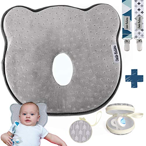 Baby Pillow for Newborn Prevent Flat Head Shaping Pillow by Dodo Babies 3D Memory Foam Head & Neck Pillow + 2 Pacifier Clips + Pacifier Case Excellent Baby Shower/Registry Gift