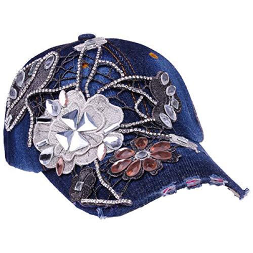 Baseballmütze Kappe Hut Cap Vintage Strass Frauen Cowboy Baseball Cap Cap Blumenmuster Gorras Weiblich Hochwertige Glas Diamanten Hip Hop Hut