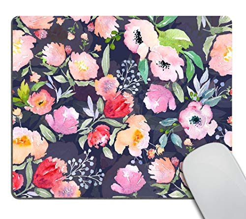 Smooffly Gorgeous Watercolor Pink Flowers Pattern Decorative Mouse Pad, Vintage Floral Mousepad Custom Romantic Floral Painting Art Mouse Pads