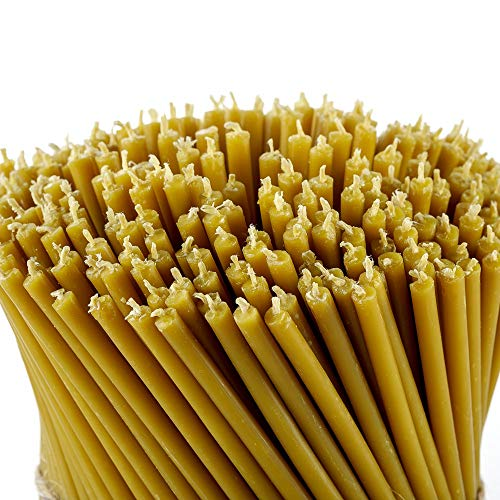 Danilovo 100% Pure Beeswax Taper Candles (Yellow) - Orthodox Church Candle Tapers for Prayer, Ritual, Christmas - No Soot, Dripless, Tall, Bendable, N80, Height 18,5 cm, Ø 6,1 mm (50 pcs - 250 g)