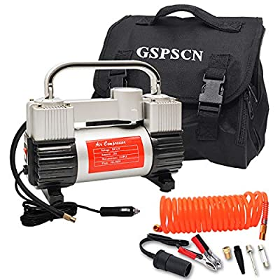 GSPSCN Silver Tire Inflator Heavy Duty Double Cylinders with Portable Bag, Metal 12V Air Compressor Pump 150PSI with Adapter for Car, Truck, SUV Tires, Dinghy, Air Bed etc by GSPSCN