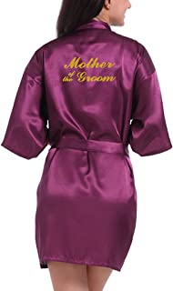 Lovacely Women's Satin Kimono Robe for Bride, Bridesmaid, Mother of the Groom Wedding Party Short Robes with Gold Glitter