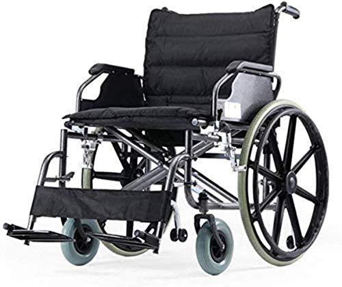 Tránsito plegable de silla de ruedas autopropulsados de aluminio con silla de ruedas con pastos de mano for personas obesas, capacidad de cojinete de hasta 125 kg con ancho de asiento de 22 pulgadas