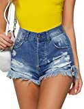 Utyful Women's Casual High Waisted Ripped Raw Cut Hem Washed...