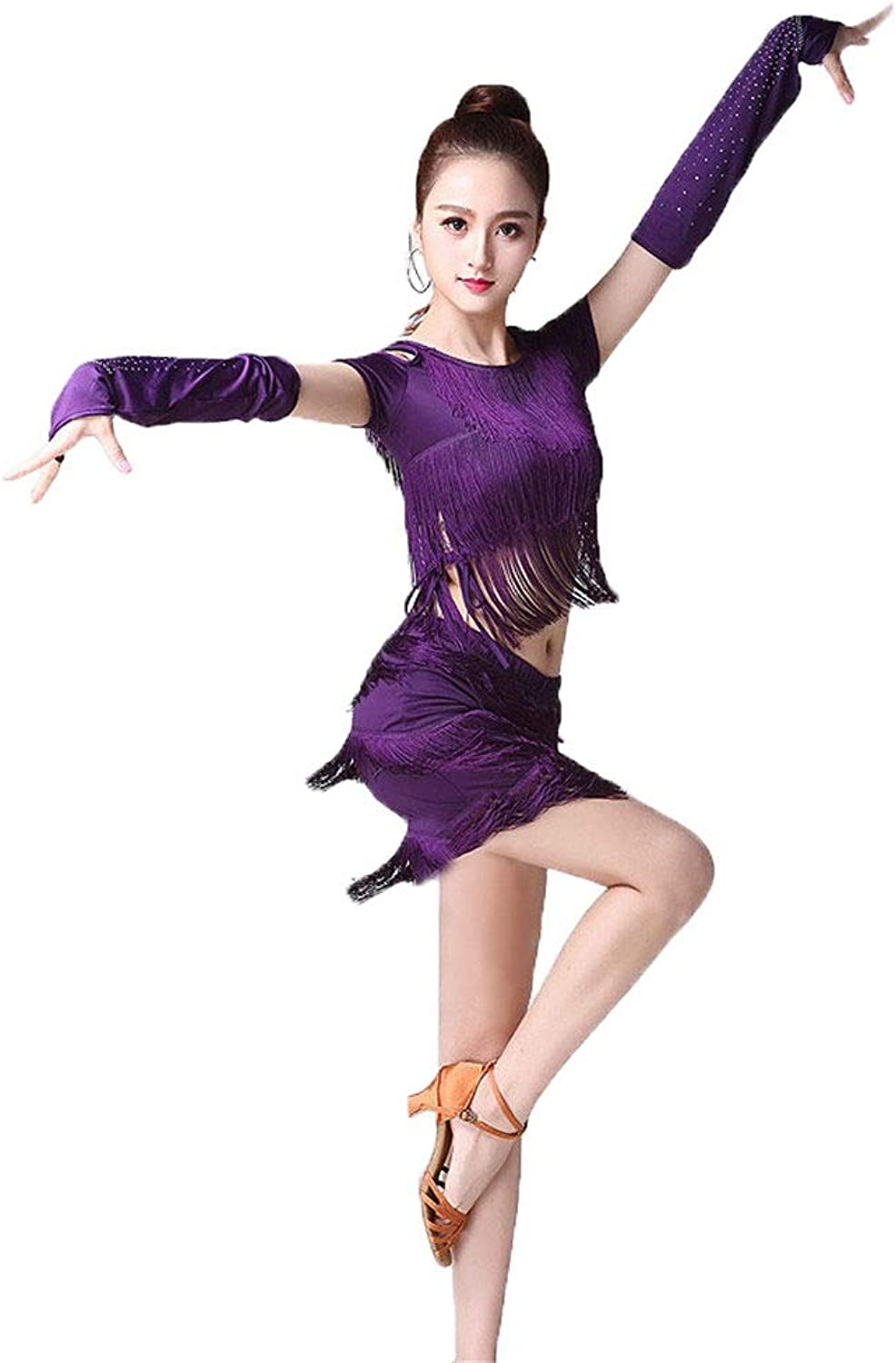 Latin Dance Clothes Women Tassel Latin Dance Dress Outfit Short Sleeve Cold Shoulder Top with Dance Skirt Tango Rumba Ballroom Performance Dancewear Competition Costumes (color   Purple, Size   L)