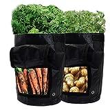 GIOVARA - Sacchetti per la coltivazione di patate, confezione da 2 pezzi, da 7 litri, con linguetta e manici per patate, pomodori, carote, cipolla (nero)