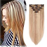 8A Grade Clip in Hair Extensions Human Hair Double Weft 10 Inch 110g Thick Soft Straight Real Remy Hair 8pcs Clip on Ash Blonde mixed Bleach Blonde #18-613