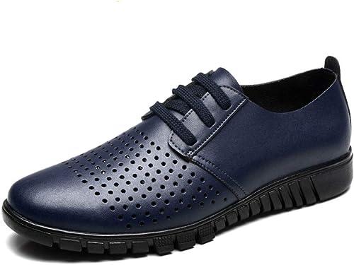 JIALUN Chaussures de Sport Simples en Cuir Oxford décontracté décontracté pour Homme Style HolFaible, HolFaible bleu, 43 EU  est réduit