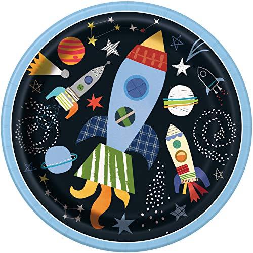 Unique Party- Piatti Ecologici in Carta-23 cm-Festa a Tema Spaziale-Confezione da 8, Multicolore, 73265EU
