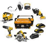 VITO Professional 20V Akku 2.0Ah Werkzeug Set (PowerPack3) Combo Kit Akku Stichsäge, Schrauber, Winkelschleifer, Bitsatz, Lederhandschuhe, mit Ladegerät 2 Akkus und robusten Koffer