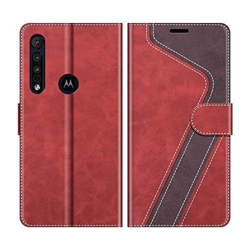 MOBESV Handyhülle für Motorola One Macro Hülle Leder, Motorola One Macro Klapphülle Handytasche Hülle für Motorola One Macro Handy Hüllen, Modisch Rot
