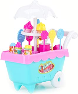Hemore DIY 39 PCS Kids Toys Simulation Mini Candy Ice Cream Trolley Shop Pretend Play Set, Pink Plastic Ice Cream Car Toys