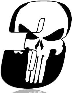 Biomar Labs® Startnummer Nummern Auto Moto Vinyl Aufkleber Sticker Skull Schädel Punisher Weiß Motorrad Motocross Motorsport Racing Nummer Tuning 3, N 363