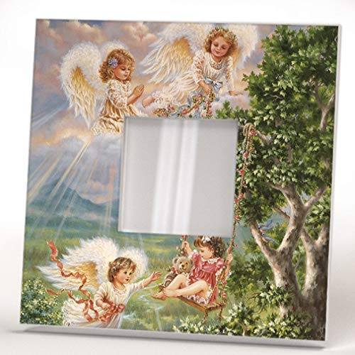 Angels Paradise Kids Wall Framed Mirror with Bless Decor Art Print Home Room Design Gift Souvenir