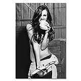 QND,Pared Mural,Chica Sexy sentada en un Inodoro Lienzos artísticos e Impresiones Pintura en Lienzo en Blanco y Negro en la Pared Decoración de imágenes artísticas, D, 30x40cm sin Marco