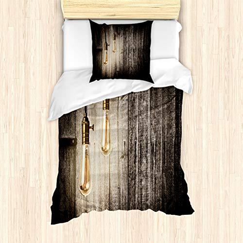 ABAKUHAUS industrieel Dekbedovertrekset, elektrische Retro, Decoratieve 2-delige Bedset met 1 siersloop, 135 cm x 200 cm, Pale Yellow Brown
