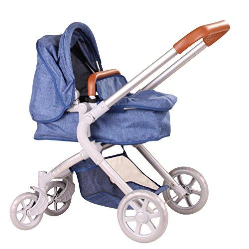 Götz 3402865 Denim 2 in 1 Blauer 4-rädriger Puppenwagen - passend Puppen bis 50 cm mit Aufbewahrungskorb und Abnehmbarer Tragetasche