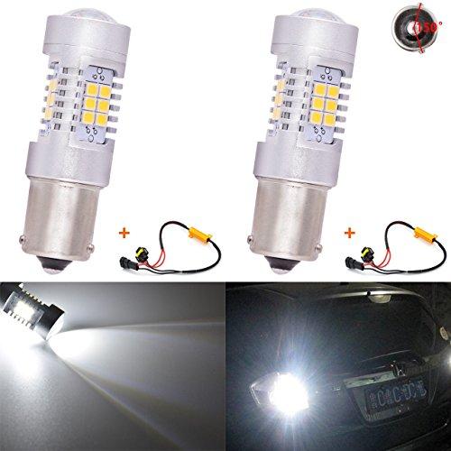 KATUR 7056 BAU15S BA15S 1141 P21W Ampoules à LED Blanches 2835 42SMD Feu Clignotant à LED avec Objectif 12V avec décodeur Canbus Exempt de Faisceau de résistances de Charge 50W 8ohm (Lot de 2)