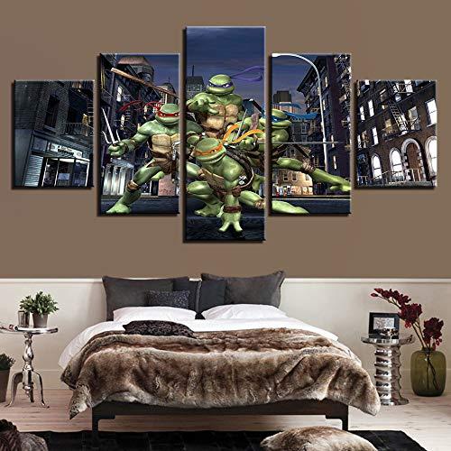 OYBB Drucke auf Leinwand Drucke Kunst Bild Poster Nein, gerahmt Painted Fünf Kämpfer Ninja Turtles Dekorative Malerei Home Bedside Hintergrund Poster 40X60Cmx2 40X80Cmx2 40X100Cmx1
