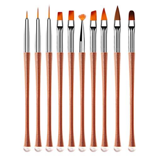 Pixnor 10 Pcs Nail Art Brush Set Gel Nail Peinture Brosses UV Acrylique Brosse À Ongles Acrylique Strass Poignées Nail Art Conseils Builder Peinture Kit