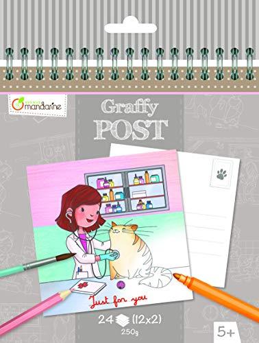 Avenue Mandarine GY015O - Un carnet à spirale Graffy Post 24 cartes imprimées à colorier 15x14,5 cm 250g (12 designs x2), Vétérinaire