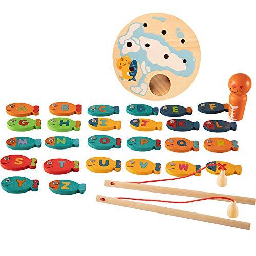 DUTUI Kinder Holz Kätzchen Angeln Spielzeug Alphabet Spiel Magnetpuzzle Frühe Bildung Angeln Spielzeug Rollenspiel Simulation Küche Spielzeug