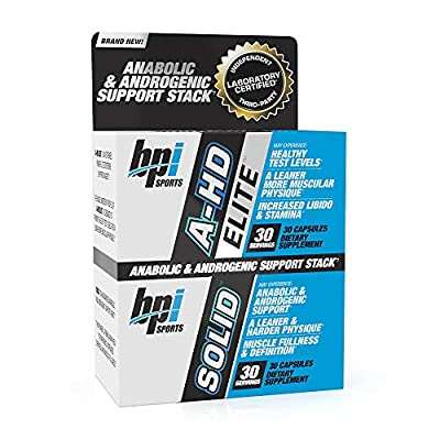BPI Sports A-HD Elite/Solid (30 Capsules) ? Men?s Testosterone Booster ? Healthy Muscle, Strength, & Performance Support ? Promotes Natural Fat Loss & Libido ? 30 Servings ? 550mg