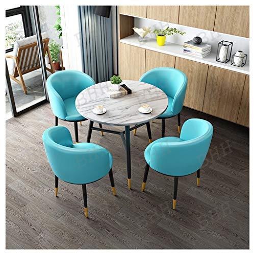 Combinaison De Table Et Chaise, Imitation Marbre Abletop Table Et 4 Chaises en Cuir Cuisine Meubles Café Boutique De Thé Au Lait Restaurant Occidental Hôtel Salon Chambre Salle De Réunion Balcon