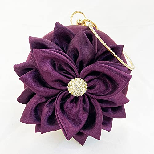 ileibmaoz Abendtasche Damen Clutch Blumen Clutch Runde Abendtasche Damen Handtasche Hochzeit Geldbörse Und Handtaschen Exquisite Kette Elegante Umhängetasche Lila