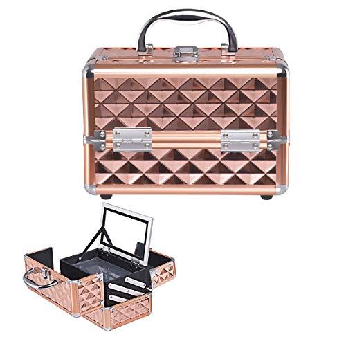 Giantex Kosmetikkoffer mit Spiegel, Beauty Make-up Case Schminkkoffer aus ABS und Aluminium, 2 ausziehbare Ablagen, ausklappbarer & tragbarer Etagenkoffer Friseurkoffer Multikoffer (Rosegold)