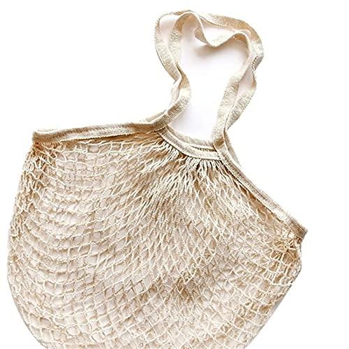 Bolsa de red, bolso de malla Totes Cuerda de algodón, Bolsa de mercado de agricultores Reutilizable, Bolso de hombro de mango largo (Color : Beige, Size : One size)