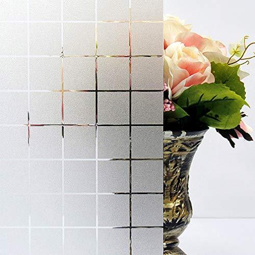 TTMOW Fensterfolie Selbsthaftend Blickdicht, Selbstklebend Sichtschutzfolie Fenster, Milchglasfolie Statische Fensterfolien Für Zuhause Badzimmer oder Büro (Karo, 44 x 200 cm)