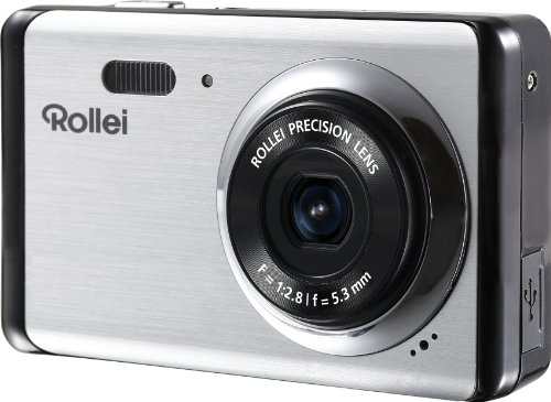 Rollei Compactline 83 Digitalkamera (8 Megapixel CMOS Sensor, 8-fach dig. Zoom, 6,9 cm (2,7 Zoll) LCD-Display, Panorama-Funktion, Multi-Schnappschuss-Funktion) silber