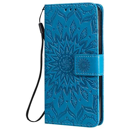 Dfly Funda para iPhone 12 y iPhone 12 Pro (6.1 pulgadas), cuero premium con diseño de mandala, ranuras para tarjetas, color azul