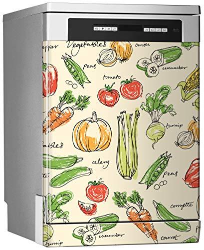 MEGADECOR Vinilo Decorativo para Lavavajillas, Medidas Estandar 67 cm x 76 cm, Dibujo Coloreado con Diferentes Verduras En El Fondo