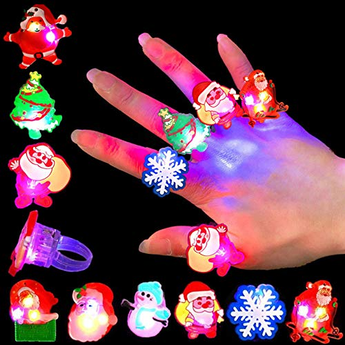 Qvatox 50Pcs Christmas Light Rings Party Favors Christmas LED Glow Up Rings Party Supplies Christmas Flashing Glowing Finger Rings Decoration for Kids Adults