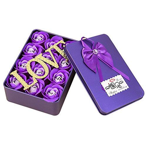 12 fleur de savon de bain de parfum de rose avec une fleur d'or, boîte-cadeau pour l'anniversaire/anniversaire/mariage/conception de Valentin/fête des