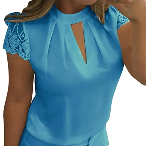 JUTOO Frauen Casual Chiffon Kurzarm Splice Lace Crop Top Bluse(Blau, EU:42/CN:XL)