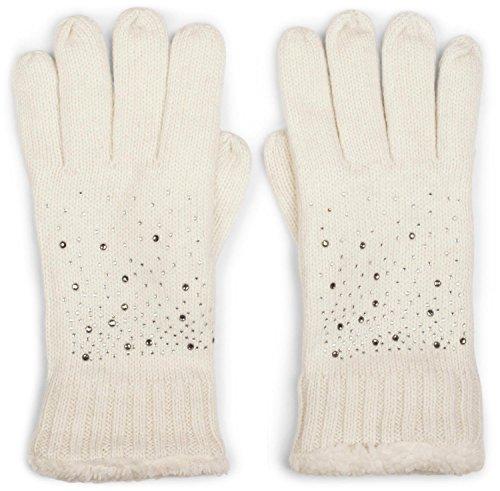 styleBREAKER warme Handschuhe mit Strass und Fleece, Winter Strickhandschuhe, Damen 09010010, Farbe:Creme-Weiß (One Size)